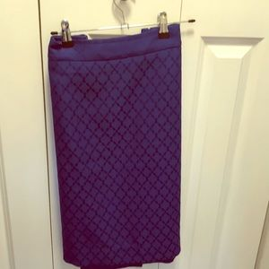 Royal blue print pencil skirt
